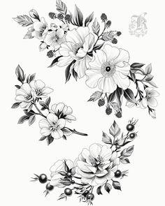 japanese with tattoos Leg Tattoos, Black Tattoos, Body Art Tattoos, Small Tattoos, Sleeve Tattoos, Pencil Drawings Of Flowers, Flower Sketches, Flower Tattoo Designs, Flower Tattoos