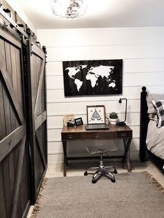 Boys Modern Farmhouse Bedroom Reveal-Teenager Style - Home on Mount Forest - Home Goals Stylish Bedroom, Cozy Bedroom, Home Decor Bedroom, Bedroom Ideas, Master Bedroom, Bedroom Furniture, Bedroom Romantic, Scandinavian Bedroom, Bedroom Curtains