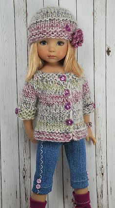 "13"" doll hat and matching sweater, cute!"