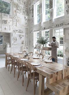 """Hueso"" the concept restaurant by Cadena Asociados of Mexico Concept Restaurant, Design Bar Restaurant, Restaurant Tables, Cafe Restaurant, White Restaurant, Modern Restaurant, Restaurant Ideas, Cafe Bar, Commercial Design"