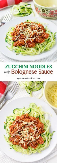 Healthy, gluten-free, low-carb homemade bolognese sauce with zucchini noodles.