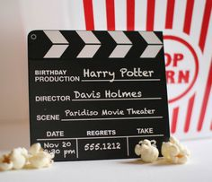 Cute idea! No shipping to Australia, but maybe an email to seller will prove otherwise? - Movie Birthday Party Invitation by swankypress on Etsy, $30.00