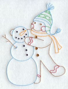 Gingerbread Man with Snowman (Redwork)