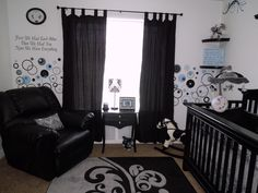 Our Baby Boy's Nursery Black & white with accents of Grey & Blue