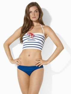 If I were 5'10 or 95 pounds, I think this Ralph Lauren midkini would be darling in a nautical way.