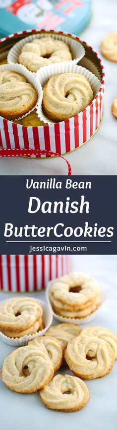 Vanilla Bean Danish Butter Cookies - using this recipe you can make your own tin of sweet butter cookies with different unique piped designs. via Jessica Gavin Danish Butter Cookies, Butter Cookies Recipe, Biscuit Cookies, Vanilla Cookies, Shortbread Cookies, Chocolate Cookies, Baking Recipes, Cookie Recipes, Dessert Recipes
