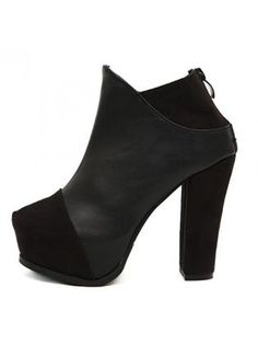 Fabulous Solid Black Chunky Heel Ankle Boots Suede and PU