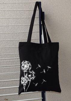 Jute/Stoffbeutel  Schwarz Pusteblume von EdyDarkShop auf Etsy