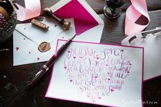 Awesome hand lettering, stunning ink colors, writing prompts, & great ideas for DIY Valentine's cards.  Goulet Pens Blog: Written From The Heart: Valentine's Day Gift Ideas #PutYourHeartToPaper