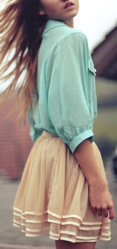 Mint blouse and tulle skirt.