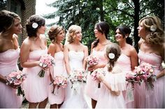 Love the #bridesmaids #pink #dresses