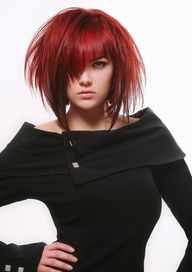 almost medium length with short choppy layers. Love this if my hair is thick enough for it to look like this