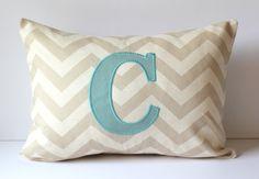 Monogrammed Pillow Cover - Chevron - Applique - 12 x 16 - Nursery Decor - Dorm Decor - Wedding - Bridal - Home Decor via Etsy