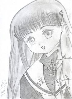 Freehand reproduction of Tomoyo, Cardcaptor Sakura, by me in 2002
