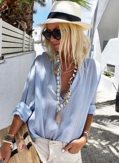 Sexy Women V-neck Button Long Sleeves Blouse Summer Outfits, Casual Outfits, Cute Outfits, Vetement Hippie Chic, Look Hippie Chic, Mode Hippie, Look Con Short, Mode Jeans, Cozy Fashion
