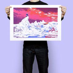 """Sérigraphie """"Le Bateau"""", par Simon Roussin,Sérigraphie 5 couleurs, imprimée par Pierre Faedi à Strasbourg. 60 exemplaires numérotés et signés par l'artiste."""