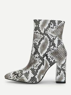 c65eaa0d527 Shop Snakeskin Side Zipper Boots online. SheIn offers Snakeskin Side Zipper  Boots  amp  more