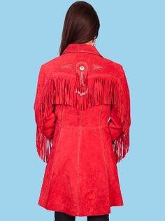 womens red fringe jacket 38ab5a56e07e