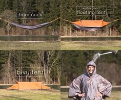 The Flying Tent is a foldable nylon bivy tent that can also be set up as a hammock, a floating tent and even worn as a poncho. It's waterproof and also has a mosquito net, and easily folds back into its slim carrying case.