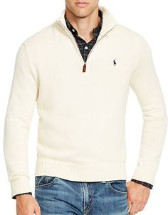 ... this handsome half-zip pullover is crafted from French · Cotton  SweaterPullover SweatersPolo Ralph LaurenLargerIvoryWebsiteClothingHeather  ...