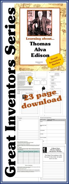 Here's another NEW DOWNLOAD from the Hub's GREAT INVENTORS SERIES: Thomas Alva Edison The 23 page download includes reading comprehension, NOTEBOOKING PAGES, science activity and more! Download Club members can download @ http://christianhomeschoolhub.spruz.com/governmenthistorygeography.htm