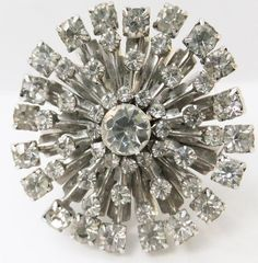 Vintage jewelry brooch in silver clear by DevineCollectible, $75.00