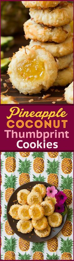 Pineapple Coconut Thumbprint Cookies - these are so good!! Such a fun summery treat!