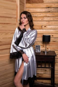 Gray bridesmaid kimono robe Lace bridal satin dressing gown Short robe for women Getting ready robe for bride Bridal shower gift for sister - ĐN - brautmode Lace Bridal Robe, Bridal Robes, Satin Lingerie, Bridal Lingerie, Sleepwear Women, Pajamas Women, Satin Sleepwear, Loungewear, Nightwear
