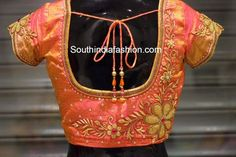 Beautiful blouse for kanjeevaram sarees embellished with zardosi work, stones… Blouse Back Neck Designs, Cutwork Blouse Designs, Wedding Saree Blouse Designs, Pattu Saree Blouse Designs, Hand Work Blouse Design, Simple Blouse Designs, Wedding Sarees, Wedding Blouses, Zardosi Work Blouse