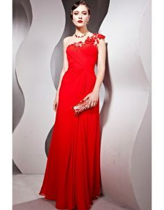 Red spaghetti strap floor length tencel bridesmaid dress with appliques  US$151.00