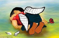 Menino sírio morto afogado vira anjo caído em charge