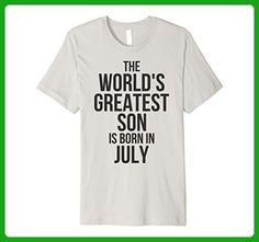 Mens World's Greatest Son Is Born In July Birthday Shirt XL Silver - Birthday shirts (*Amazon Partner-Link)