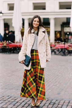 Long plaid skirt- maybe minus the faux fur though.London Fashion Week AW 2013....Chloe