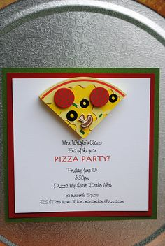 an end of the year Kindergarten Pizza Party to remember. and Playful Pizza. Pizza Party Themes, Pizza Party Birthday, Sleepover Party, Birthday Parties, 2nd Birthday, Birthday Ideas, Party Invitations, Party Favors, Invitation Ideas