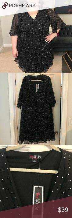 NWT Lovedrobe Polka Dot Pleated dress Simply Be Fun but polished polka dot fit and flare dress, new with tags. Lovedrobe brand from Simply Be. US size 26. V-neck and fitted bodice and A-line skirt with pleated detailing. Sheer pleats also drape over the sleeves. The underside of the sleeves is open, so the fabric covers the upper arm completely, but feels a little cape-like. Very etherial detail on a polished dress. Lovedrobe Dresses Midi
