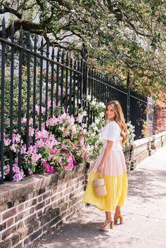 Gal Meets Glam Pink & Yellow -Sea top, Cedric Charlier skirt, Joie heels & Doen bag