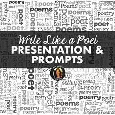 Teach your students to write like famous poets! My Write Like a Poet presentation and handouts are perfect for all students, but especially for those who struggle with creativity or hate to write (or hate poetry). Aligned with the Common Core State Standa Writing Poetry, Writing Prompts, Secondary Teacher, Secondary Resources, Magnetic Poetry, Teacher Resources, Teaching Ideas, Teaching Activities, National Poetry Month