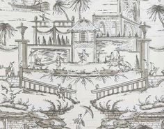 Reproduction of a hand-joined wallpaper printed in the second half of the century with a chinoiserie design. The original blue colour immediately brings to mind Delft pottery, which could well have been the inspiration for this pattern. L Wallpaper, Scenic Wallpaper, Designer Wallpaper, Delft, Pierre Frey, Chinoiserie, Made To Measure Curtains, Cool Lighting, Decoration