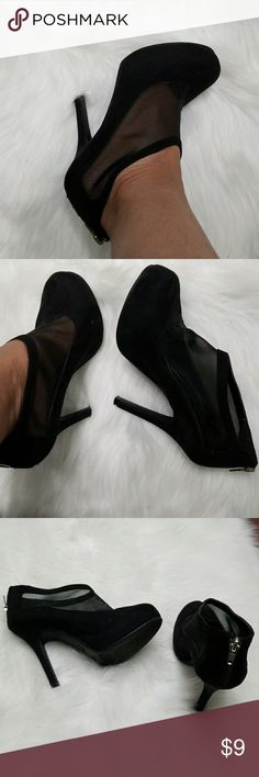 Cute Mesh/ velvet bootie Really stylish mesh booties. Always received compliments on these cuties. Wore with black stockings & skirts. Size says 5.5, but fits size 6. Worn a handful of times, but still in GREAT CONDITION Madeline Girl Shoes Ankle Boots & Booties