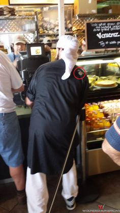 HOUSTON -- MUSLIM WEARING ISLAMIC ROBE WITH  ISIS LOGO?  Taken at a Jason's Deli on west 34th and 290.  The unknown man was wearing a black Islamic robe with the Islamic State logo embroidered on the right shoulder.  | Creeping Sharia