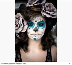 The 11 Best Halloween Makeup Ideas - Not sure what to dress up as? Check out these Halloween Makeup Ideas for a little inspiration. makeup wolf The 11 Best Halloween Makeup Ideas Sugar Skull Make Up, Sugar Skulls, Sugar Skull Face Paint, Candy Skulls, Maquillaje Sugar Skull, Fantasias Halloween, Fantasy Makeup, Fantasy Hair, Artistic Make Up