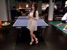 Kim Kardashian playing ping pong