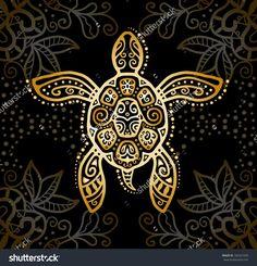 Decorative graphic turtle, tattoo style, tribal totem animal, raster illustration, gold on black lace pattern - Shutterstock Sea Turtle Art, Turtle Love, Sea Turtles, Cool Henna, Henna Art, Tattoo Kind, Ethnic Tattoo, Hawaiian Tattoo, Henna Tattoo Designs
