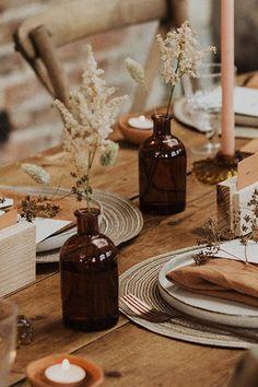 Wedding Bottles, Wedding Table Decorations, Wedding Centerpieces, Vase Decorations, Fall Wedding Table Decor, Centerpiece Flowers, Wedding Table Settings, Centrepieces, Natural Wedding Decor