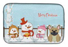 Merry Christmas Carolers French Bulldog Cream Dish Drying Mat BB2341DDM