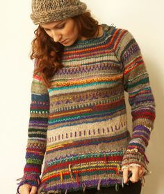 Handmade striped wool sweater, from Etsy. And here I was thinking I was the only one who had thought of using up my scraps and leftovers by knitting something like this.