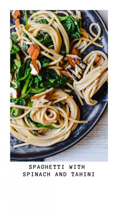 Spaghetti with spinach and tahini - Donna Hay - Anne Travel Foodie Vegetarian Pasta Dishes, Best Pasta Dishes, Vegetarian Recipes Dinner, Vegan Dinners, Dinner Recipes, Spicy Spaghetti, Spaghetti With Spinach, Whole Wheat Spaghetti, Spaghetti Recipes