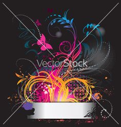 Background with flower ornament with butterfly vector