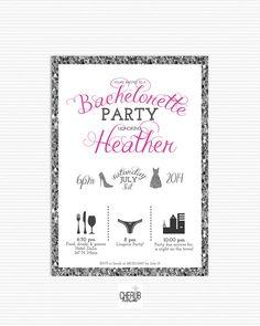 Timeline Bachelorette invitation, Printable, Custom color, glitter invitation, Bachelorette invite, Silver Glitter, bling invitation, DIY on Etsy, $17.00