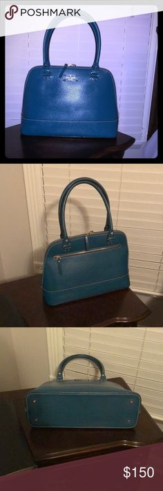 """Kate Spade Wellesley Peacock Teal Rachelle Bag In great used condition. Pretty teal color. Clean inside and out. From smoke free/pet free home. 15""""x10""""x5""""with9""""strap drop. NO: trades, PP, Mercari, or lowballing. kate spade Bags Shoulder Bags"""